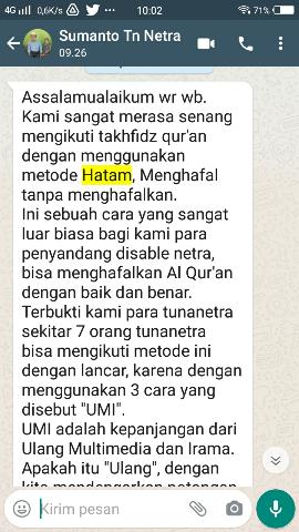 Distance Tahfidz HATAM Testimoni